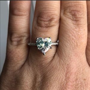Jewelry - White Sapphire Heart Engagement Ring